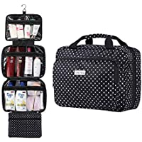 """Hanging Travel Toiletry and Cosmetic Bag for Women by SAFARI - Large (12""""x9""""x4"""") - Polka Dot - Waterproof and Durable Organizer with Clear Compartments - TSA Approved"""