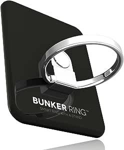 BUNKER RING 3 (全5色) バンカーリング iPhone/iPad/iPod/Galaxy/Xperia/スマートフォン・タブレットPCを指1本で保持・落下防止・スタンド(ジェットブラック)