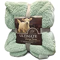 Hanacat 毛布 ひざ掛け 2枚合わせ シープ調 ボア あったか 洗える グリーン(100×130cm)