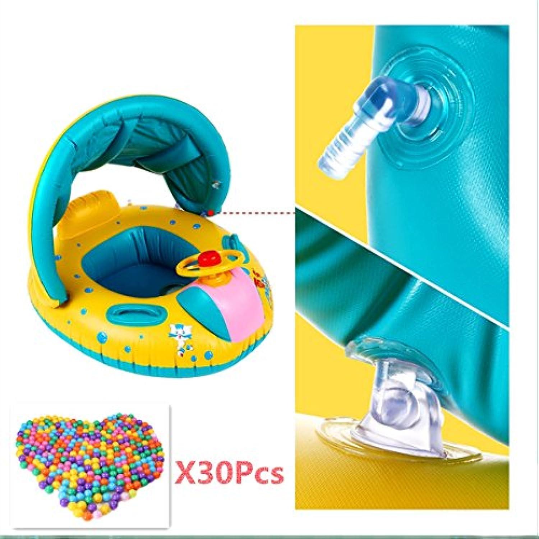a-coolベビー水泳ボートインフレータブルスイミングプールサンシェード魚飛行船フローティングおもちゃ+ 30個海洋ボール