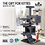 BEASTIE Cat Tree Scratching Post Scratcher Tower Condo House Furniture Wood 132 Grey Colour