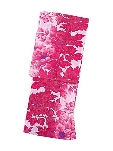 [KIMONOMACHI] LLサイズ 女性浴衣単品 ピンク 牡丹 京都きもの町