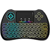 (Upgraded Version) Aerb 2.4GHz Colorful Backlit Mini Wireless Keyboard with Mouse Touchpad Rechargeable Combos for PC, Pad, Google Android TV Box and More