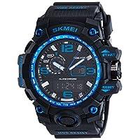 638c60d72dfc44 SKMEI メンズ デュアルコア アナログ デジタル表示装置 アウトドアスポーツ 多機能の防水電子時計腕時計SK1155C(ブルー)