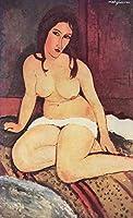 手書き-キャンバスの油絵 - 美術大学の先生直筆 - seated ヌード絵画 1917 2 Amedeo Modigliani 絵画 洋画 複製画 ウォールアートデコレーション -サイズ14