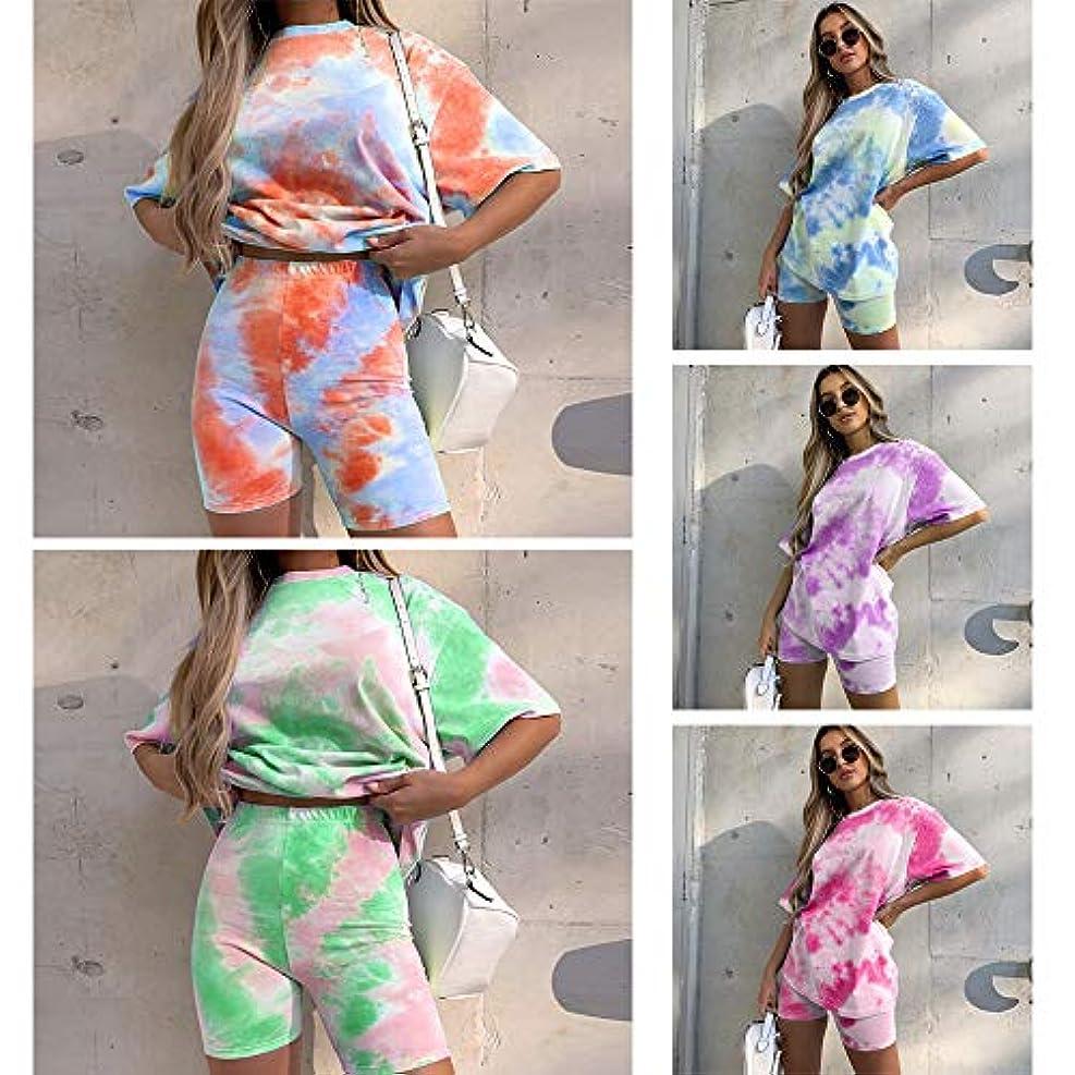 苦悩本気承知しましたTickas女性2ピースセットネクタイ染めプリント基本的なTシャツショーツカジュアルな服装ジョギングバイカーTシャツショーツ