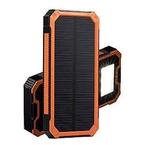DKnight 15000mAh 2ポート 超大容量モバイルバッテリー ソーラーパネル 二つの充電方法 旅行・ハイキングや地震・災害時が必要なもの