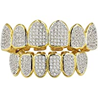Baosity 18K Gold Plated Bling Full 3A Zircon CZ Teeth Grills Top Mouth Bottom Teeth Caps For Women Men