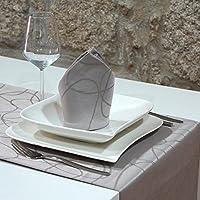 Luxuryシルバーテーブルランナー–Anti Stain Proof Resistant–パック2単位の–ref。線