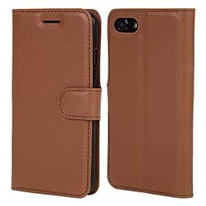 iPhone7 ケース 手帳型 スタンド機能付き シンプル マグネット 耐衝撃 カバー 財布型 カード収納 スマートフォンケース 保護ケース PUレザー Premium Spade (プレミアムスペード) (ブラウン)