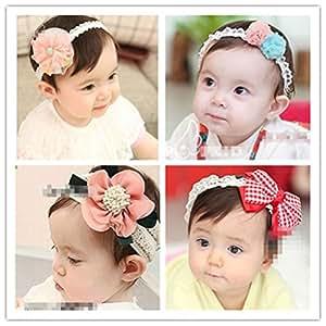 百恵さん  新生児髪飾りボウ&フラワーズ デザイン ヘアアクセサリヘアバンド 伸縮性がある 赤ちゃんに最適! 4枚 セット