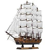 KISENG 50cm 手作り 木製 セーリングボートモデル アセンブリ航海船 スクーナーボート 装飾 ギフト