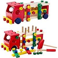 はじめての大工さんごっこ 知育玩具 大工さんセット 消防車 積み木 組み立て 木製おもちゃ 木製ツールボックス プレゼント ギフト
