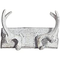 (Antique White) - Vintage Cast Iron Deer Antlers Wall Hooks by Comfify Antique Finish Metal Clothes Hanger Rack w/ Hooks Includes Screws and Anchors in Antique White (Antlers Hook CA-1507-23)