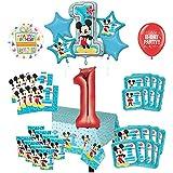 Mayflower Products ミッキーマウスパーティー用品 1歳の誕生日用バルーンブーケ 16個のゲストデコレーションキット