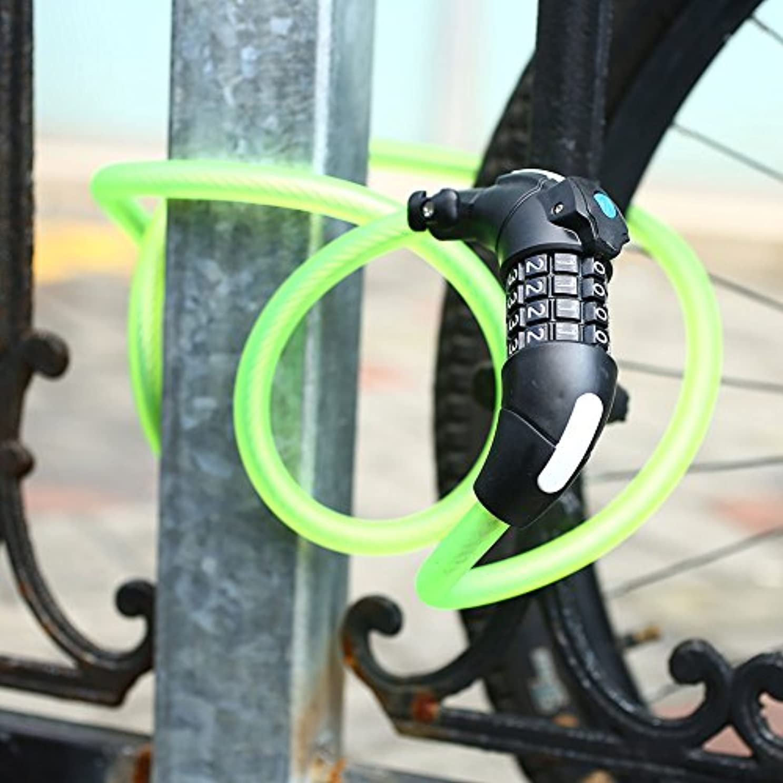 基本的な記事符号Beautyrain 軽いパスワードで自転車ロック盗難防止マウンテンバイクロック LEDライト付き、4つのキー組み合わせセキュリティコードロック 1.5M Lenth