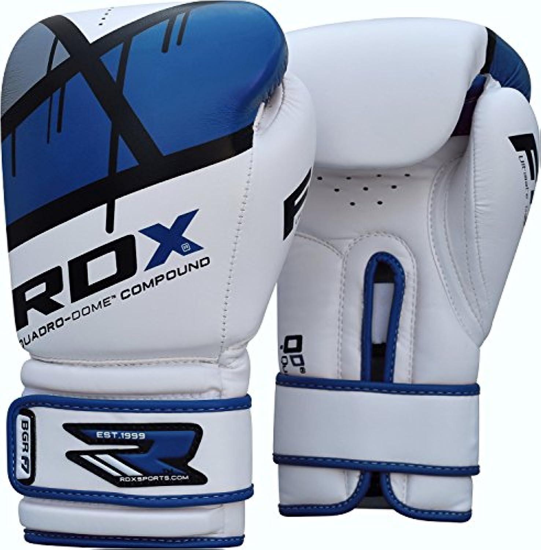 RDX Maya ハイド レザー ボクシング グローブ F7 (ブルー, 14oz)