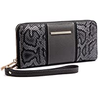 Miss Lulu Women Snake Print Fashion Long Purse Wallet Ladies PU Leather Clutch Hand Bag Card Holder