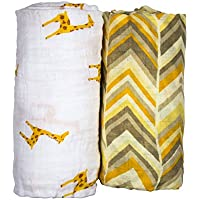Babio Muslin & Bamboo Cotton Baby Swaddle Blanket Set - 47 inch x 47 inch - Yellow/White by Babio