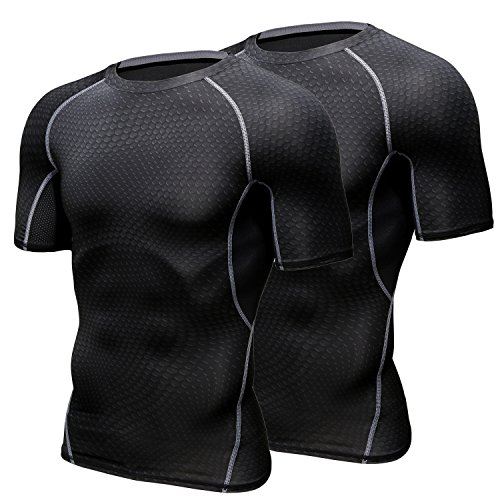 HONENNA 加圧インナー 2セット 加圧シャツ 着圧スポーツインナー メンズ 半袖 インナー 男性用機能性肌着 コンプレッションウェア 吸汗速乾 姿勢矯正 猫背解消
