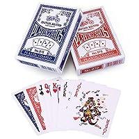 LotFancy トランプカード ポーカーサイズ 標準インデックス ブラックジャック、ピノクル、ユクレカードゲーム用デッキ 青と赤