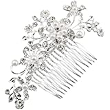 LALANG Bridal Hair Comb Clip Pin Rhinestone Imitation Pearl Hair Accessories Wedding Hair Piece for Bride Bridesmaid