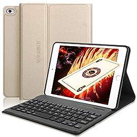 iPad mini5 キーボード ケース 2019 新型 SENGBIRCH iPad mini1/2/3/4/5に対応 7.9インチ オートスリープ スタンド機能付き 着脱式 ワイヤレス Bluetooth キーボード カバー ケース (ipad mini12345 ゴールド)