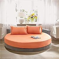 etbotu 100 %コットンラウンドボックスベッドシーツ、マットレストッパー200 / 220 cm、無地、結婚祝いギフト Diameter 200cm オレンジ KY-HOME-020118-098