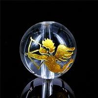 天然石 手彫り天使弓持ち(キューピット)水晶彫り 【金彫り 約12mm】 1粒