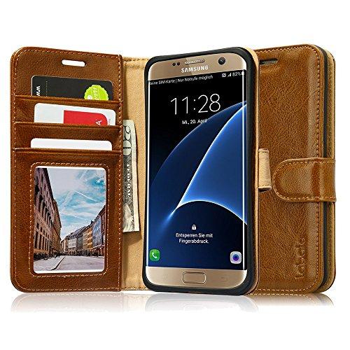 Galaxy s7 edge ケース 手帳型 5.5インチ Labato® case for Galaxy s7 edge SC-02H SCV33 ギャラクシー S7 エッジ カバー 本革レザー TPU 財布型 マグネット カードポケット スタンド機能 手作り ハンドメイド 耐摩擦 耐汚れ 全面保護 フリップ 人気 横開き 全四色 (ブラウン LBT-S7E-02Z20)