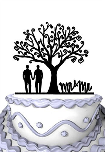Meijiafei Wedding Cake Topper - Gay Together Under the Tree Silhouette with Script Mr & Mr Party Decoration [並行輸入品]