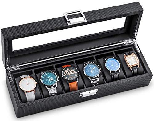 Betidom 時計ケース 6本 腕時計 ケース 高級 時計保管 収納ボックス 腕時計収納ケース カーボン ロレックス カシオ オメガ セイコー など ウォッチコレクションボックス ディスプレイ