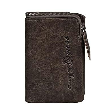 クロース(Kroeus)お財布 メンズ 二つ折り財布 牛革 ウォレット 男性用 革 ファスナー 高品質