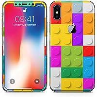 iPhonex アイフォン x 全面スキンシール フル 背面 側面 正面 液晶 ステッカー スマホカバー ケース 保護シール スマホ スマートフォン チェック・ボーダー レゴ ブロック カラフル 模様 007349