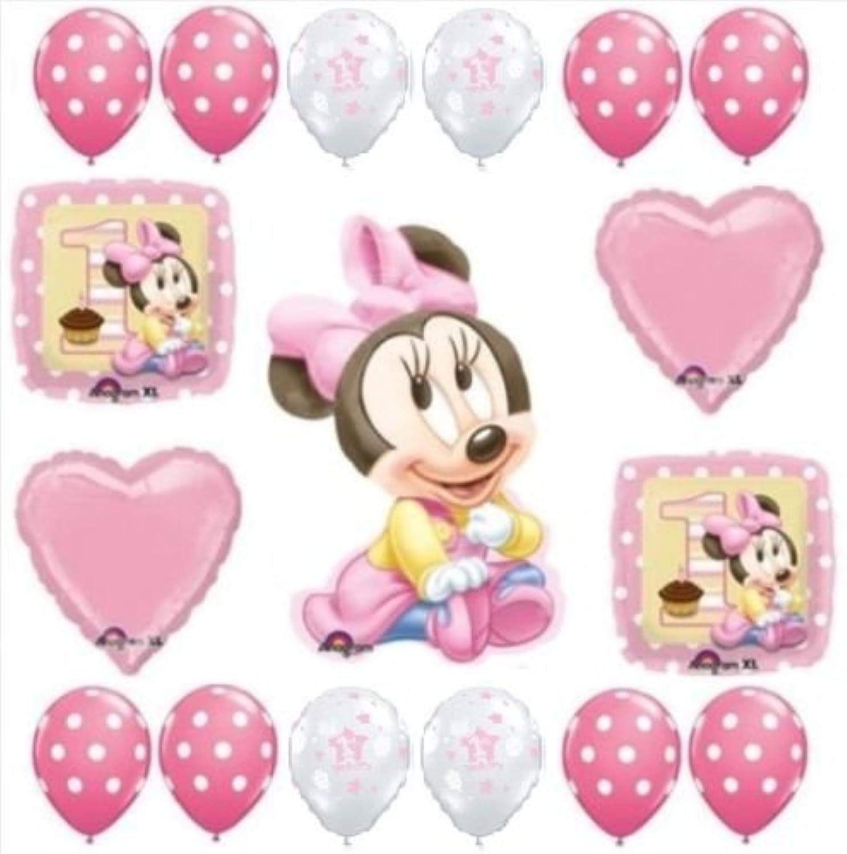 loonballoon Minnie Mouse 1st # 1ピンク水玉誕生日ガールパーティー( 17 )バルーンキットセット