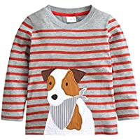HUAER& Baby Boys Cotton Long Sleeve T Shirt Cartoon Dog Dinosaur Rocket Print Tops