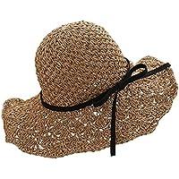 YJWAN ハット レディース 麦わら帽子 折りたたみ リボン ストローハット つば広 花見せ、旅行、海辺