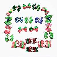 Yumms 20ピースクリスマス犬の弓ペット猫ヘアアクセサリークリスマス子犬グルーミングゴムバンド