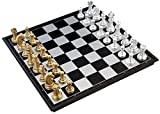【四葉堂オリジナル】豪華なボードゲーム 金と銀のチェス 大判サイズ 32cm×32cm / マグネット式で外でも遊べます 一式セット / 遊戯 チェス盤 ゴールド シルバー