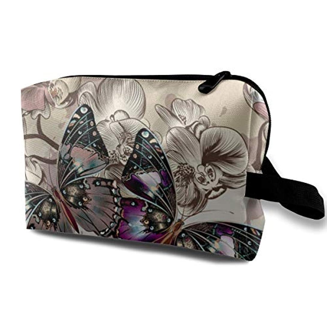 トリムハッチあさりRomantic Butterflies In Flowers 収納ポーチ 化粧ポーチ 大容量 軽量 耐久性 ハンドル付持ち運び便利。入れ 自宅・出張・旅行・アウトドア撮影などに対応。メンズ レディース トラベルグッズ