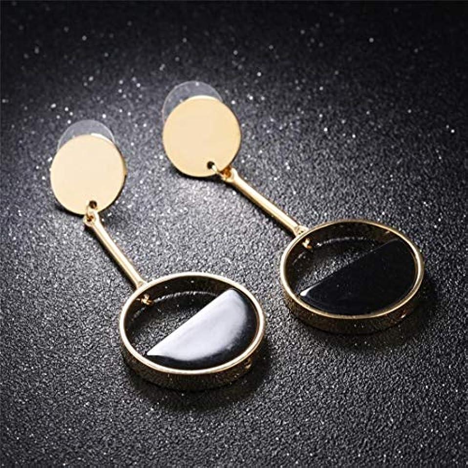 ペデスタル引き金母JOYS CLOTHING ハーフリングブラックイヤリング (Color : Black)