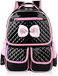 PUレザースクールバックパック、Kids Bookbagちょう結びの防水簡単なクリーンで女の子のための幾何学的なスクールバッグ