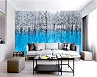 Weaeo 現代的なミニマリストの青い写真湖の側のツリーツリーの雪のベッドルームのベッドサイドの壁紙の3D壁紙-200X140Cm