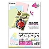 長門屋商店 ナガトヤ カラーペーパー アソート4色ライトカラー ナ−3242 A4中厚100枚