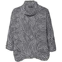 Grizas Women's Linen & Silk Embossed Cowl Neck Top Grey