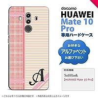 HUAWEI Mate 10 Pro(ファーウェイ メイト 10 Pro) スマホケース カバー ハードケース チェック・ボーダー ピンク イニシャル対応 Q nk-m10p-1605ini-q
