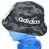 アディダス adidas 子供用 帽子 迷彩柄 サイドロゴ バケットハット キッズ ジュニア (ブラック)