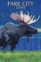 パークシティユタ州、–Moose at Night 24 x 36 Giclee Print LANT-54552-24x36