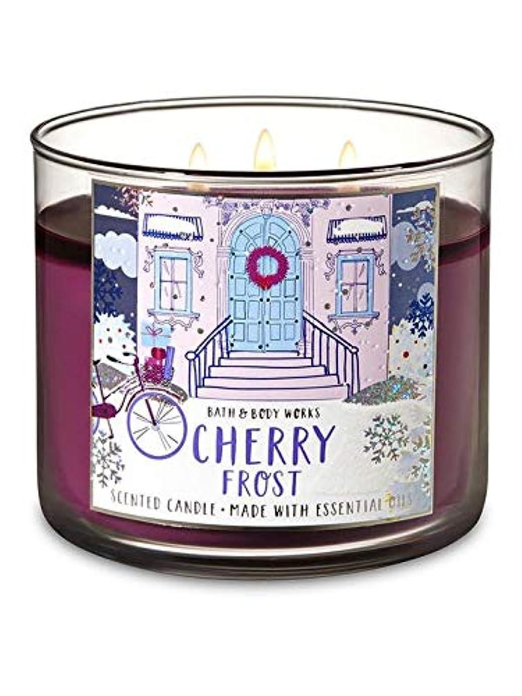 代わりに昼寝群がる【Bath&Body Works/バス&ボディワークス】 アロマキャンドル チェリーフロスト 3-Wick Scented Candle Cherry Frost 14.5oz/411g [並行輸入品]