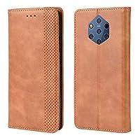 SYMYI スマートフォンケース ノキア9の札入れの箱、ノキア9のための埋め込まれた磁気閉鎖が付いている優れたレトロの革箱の横のフリップ贅沢な箱 (Color : Brown)